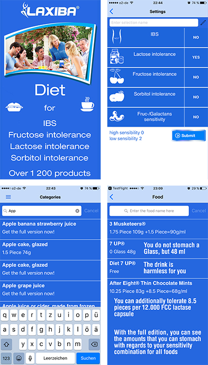 The Laxiba App: Find out how much of a food is safe having an irritable bowel syndrome or a sensitivity towards lactose, fructose or sorbitol.